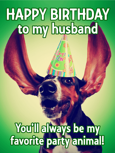To my Favorite Party Animal - Happy Birthday Card for Husband