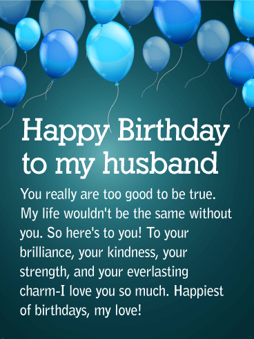 To my Partner for Life - Happy Birthday Wishes Card for Husband