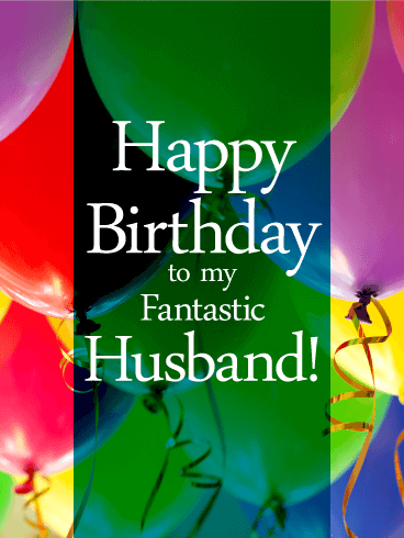 Vivid Birthday Balloon Card For Husband