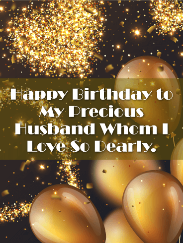 Shining Gold Happy Birthday Card for Husband