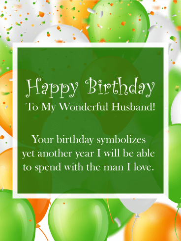 Pop & Colorful Happy Birthday Wishes Card for Husband