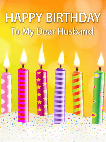Vivid Candle Happy Birthday Card for Husband