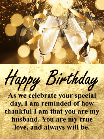 Glittering Gold Happy Birthday Wishes Card for Husband