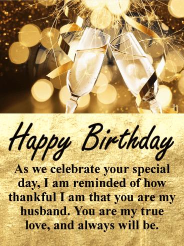 Glittering Gold Happy Birthday Wishes Card For Husband Birthday