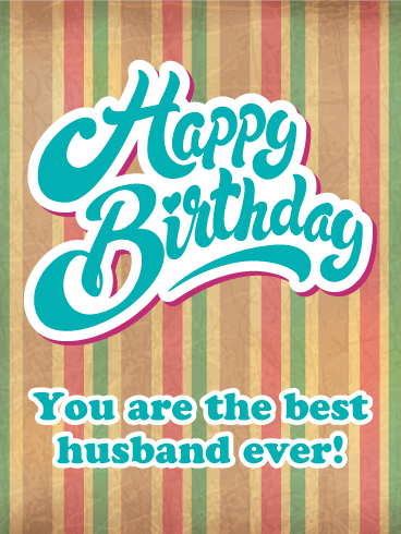 Vintage Design Happy Birthday Card For Husband Birthday Greeting