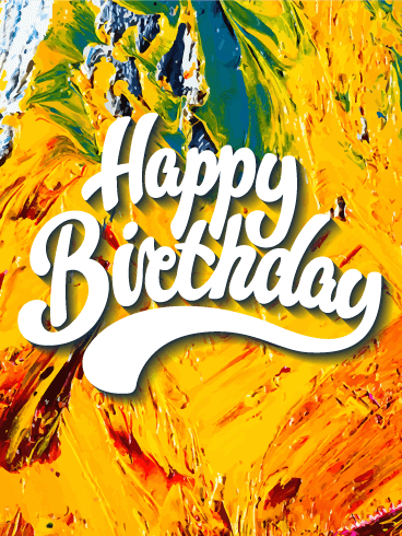 Yellow Oil Painting Happy Birthday Card