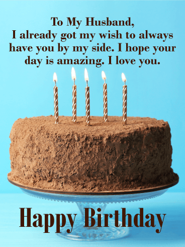 Big Chocolate Cake Happy Birthday Wishes Card for Husband
