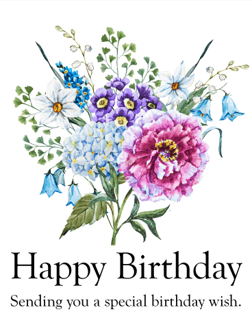 sending you a special birthday wish birthday flower card - Send Birthday Card