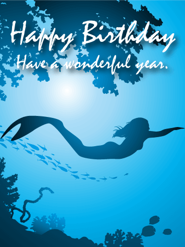 Swimming Mermaid Happy Birthday Card Birthday Greeting Cards by