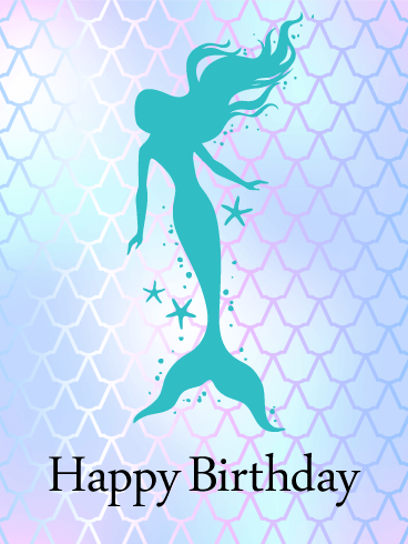Shining Mermaid Happy Birthday Card Birthday Greeting Cards By Davia