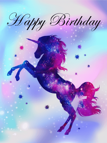 Purple Unicorn Happy Birthday Card