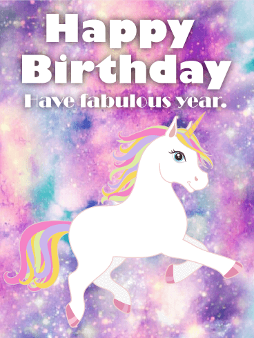 Galaxy Unicorn Happy Birthday Card