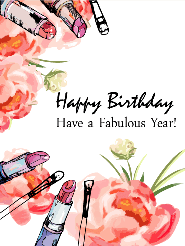 Flowers & Lipsticks - Happy Birthday Card