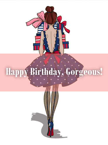 To a Gorgeous Girl - Happy Birthday Card