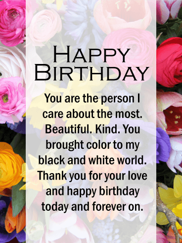 I Care About You the Most! Happy Birthday Card