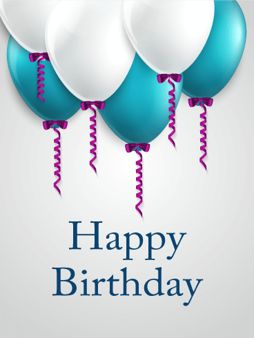 Blue & White Happy Birthday Balloon Card