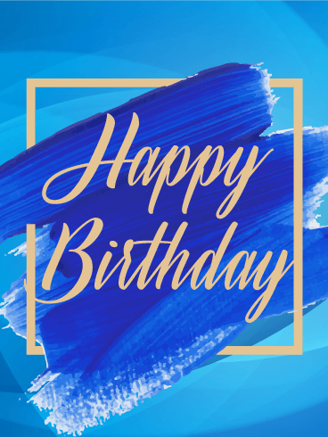 Blue Paint Happy Birthday Card