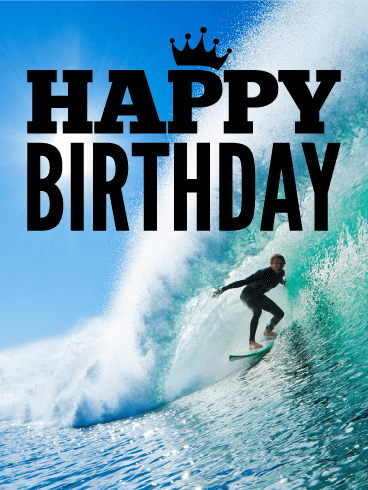 Surfing Happy Birthday Card - Catch the Wave
