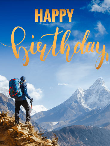 Climbing Happy Birthday Card - Feel the Air