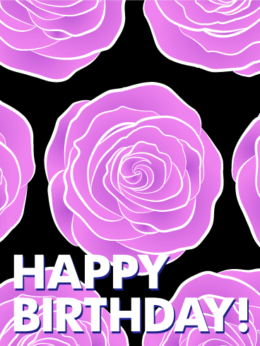 Artistic Pink Rose Happy Birthday Card
