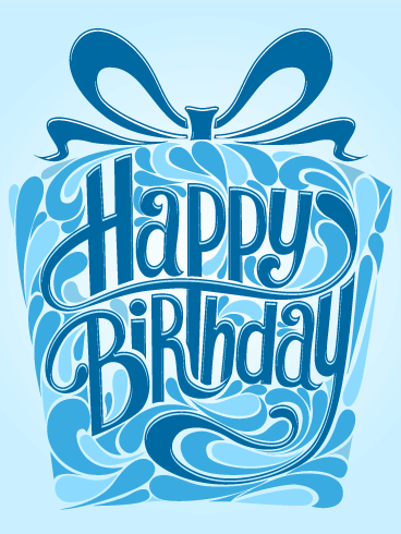 Blue Gift Box Happy Birthday Card
