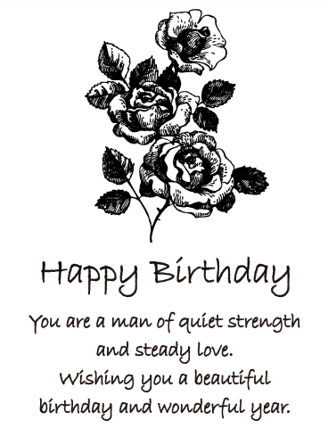 Black & White Rose Happy Birthday Card for Him