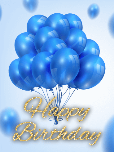 Blue Balloon B Day Card