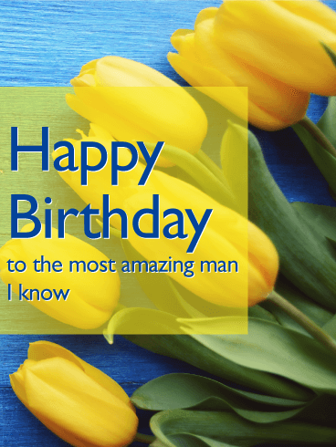 Yellow Tulip Happy B-Day Card