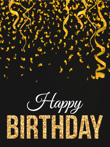 Golden Ribbon Happy B-Day Card