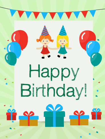 Birthday Party with Friends Card for Kids