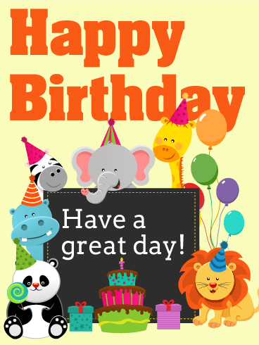 Animal birthday cards for kids birthday greeting cards by davia happy birthday card for kids m4hsunfo