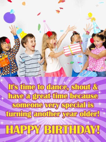 Time for a Party! Happy Birthday Wishes Card for Kids