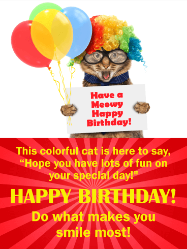 Colorful Cat Happy Birthday Wishes Card for Kids