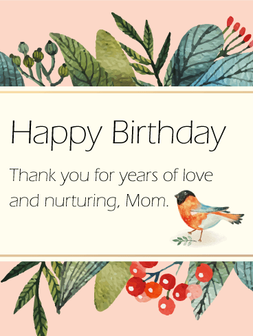 Little Bird Birthday Card for Mom