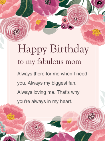 You Are Always In My Heart Happy Birthday Wishes Card For Mom