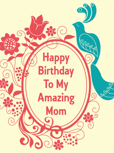 Blue Bird Birthday Card For Mom Birthday Greeting Cards By Davia