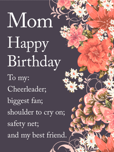 Lovely Flower Happy Birthday Wishes Card for Mom