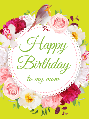 Fancy Flower Birthday Card For Mom