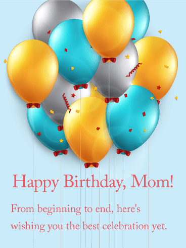 Cheerful Birthday Balloon Card for Mom