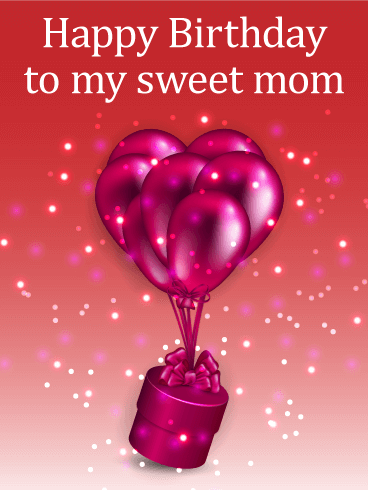 Shiny Birthday Balloons & Gift Box Card for Mom