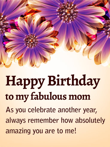 To my Fabulous Mom - Purple Flower Birthday Card