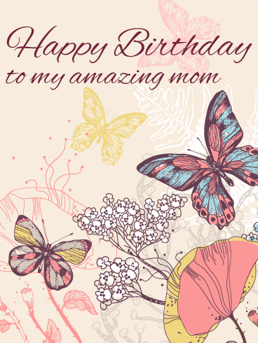 Elegant Butterfly Birthday Card for Mom