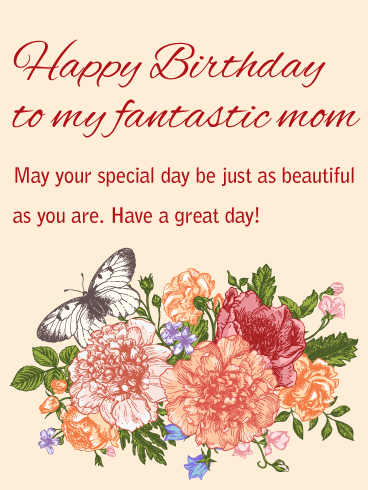 to my beautiful mom happy birthday card