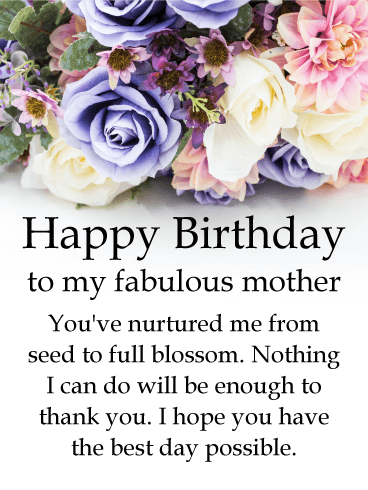 To my Fabulous Mother - Rose Happy Birthday Card