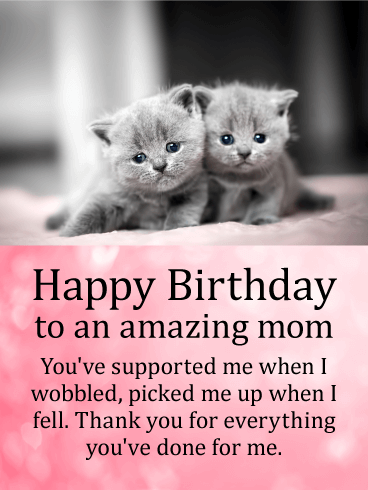 Cute Kittens Happy Birthday Card for Mother