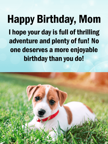 Adorable Puppy Happy Birthday Card For Mother