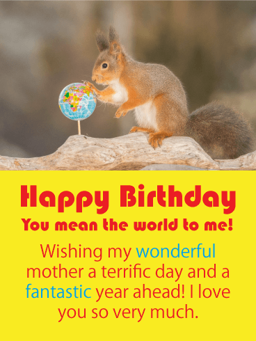 You Mean the World to Me -  Funny Birthday Card for Mother