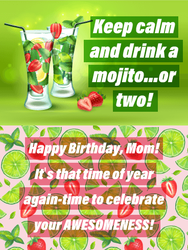 Drink Mojitos Happy Birthday Card For Mother Birthday Greeting