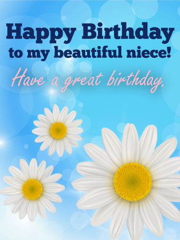 White happy birthday flower cards birthday greeting cards by to my beautiful niece happy birthday card bookmarktalkfo Image collections
