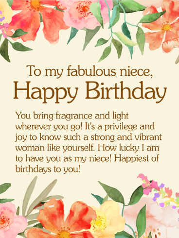 To My Fabulous Niece Happy Birthday You Bring Fragrance And Light Wherever Go